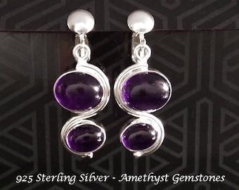 Clip On Earrings: Amethyst Gemstones Feature in these Stunning 925 Sterling Silver Earrings  |  Clip On Earrings 096