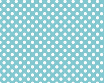 Aqua Small Dots Fabric by Riley Blake Designs - by the Yard - 1 Yard - Aqua and White Dots - C350-20