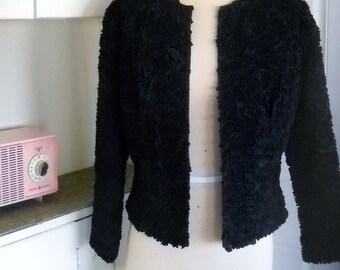 Charade - 1960's Black Taffeta RUFFLE Jacket