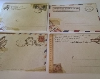 A Pack of 12 Vintage Style Mini Envelopes