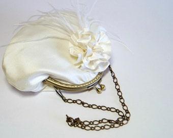 Bridal Purse, Ostrich Silk Purse  In Ivory,  Wedding purse, Flower Girl Purse