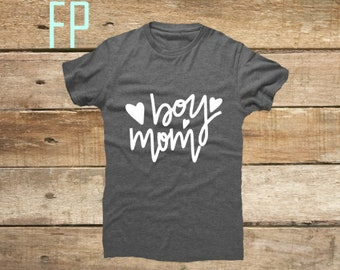 Women's Boy Mom super soft Heather Grey Tee tshirt Mother's Day gift