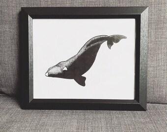 Right Whale Printable Art | Eubalaena Glacialis | Digital Download | Whale Art | Pointillism | Wall Art | Decor