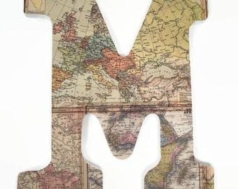 World Map Wood Letter - Travel Nursery - Gender Neutral - Wall Art - Maps Letters