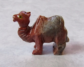 "Set of two cute little Camels from red Gemstone (Steatite ?), 1 1/2"" L X 1 1/4"" H"