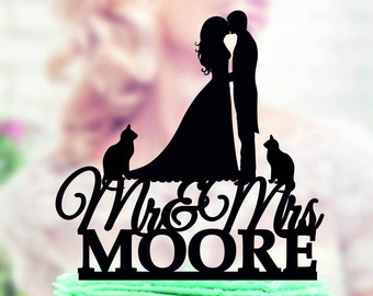 Cake Topper with Cat,Mr and Mrs Cake Topper Wedding,Silhouette Wedding Cake Topper,Mr Mrs Last Name Cake Topper Cat,Silhouette Cake Toppers