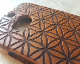 HTC M8 Wood Phone Case | Flower of LIFE Bold | Sacred Geometric Custom Design Natural wood