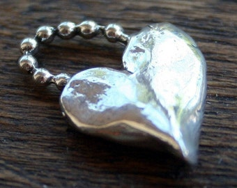 Heart Charm with beaded bail Artisan Handcrafted Sterling Silver   CH1321