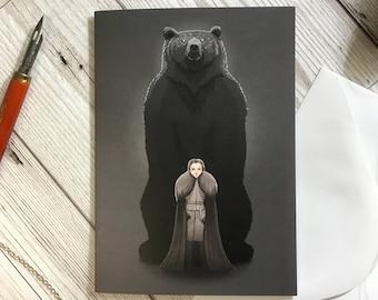 Soul and Sigil card, A6 size, Lyanna Mormont, Game of Thrones card, birthday card, friend card, GoT card, sister card, bear card,
