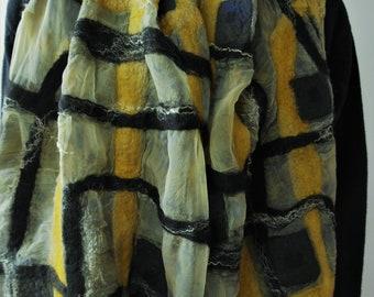 Nuno felt scarf. Large  silk felted shawl. Wrap for women.