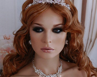Necklace Earrings & Matching Headpiece Bride Jewelry Set Bridal Wedding Hair Piece Headpiece Pageant Accessories Weddings Party Accessory