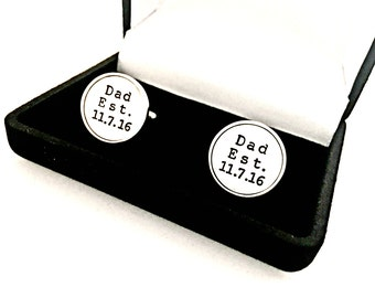 Dad Cuff Links - Sterling Silver Custom Gift for Him, New Daddy, Husband - Personalized Hand Stamped Father's Day Established Date Cufflinks