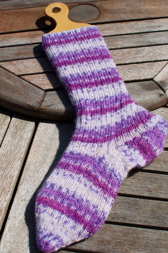 Handknitted Socks in Purple and White