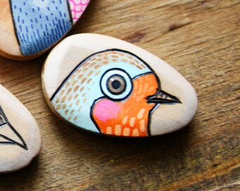 English Robin Wood Burned and Hand Painted Wood Bead
