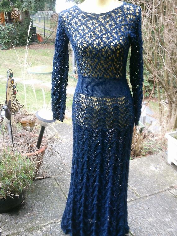 Knitting-Crochet dress dark.blue size 36-38