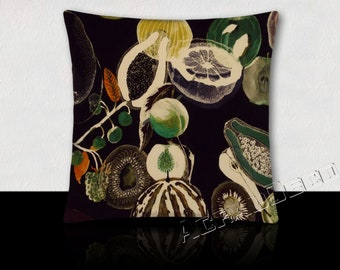 Cushion velvet exotic fruit guava/watermelons/apples/lawyers/kiwi/pomegranate shades of green on a deep black background