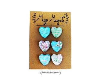 Custom Map Heart Magnets