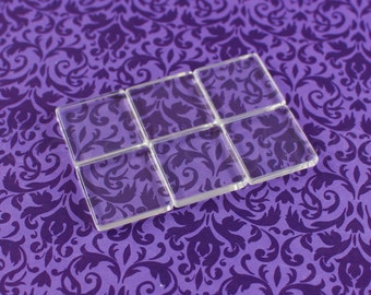 """50 Square Glass Tiles - 1 Inch - Clear Tiles -  Glass Cabochons - For Photo Pendants Mosaics Trays  - 1"""" 25mm Tiles - 4mm Thick"""