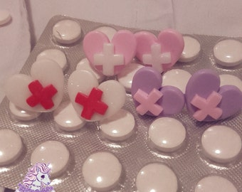 Happy Hospital cross earrings menhera yamikawaii