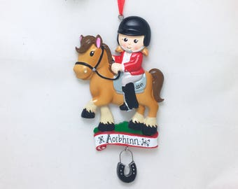 Equestrian Personalized Christmas Ornament / Horse Ornament / Dressage / I love horses / Hand Personalized