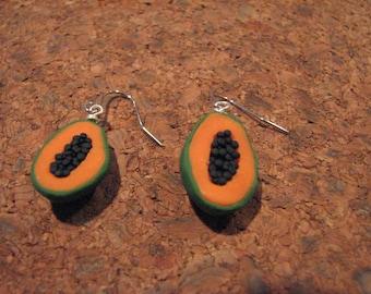 Papaya Earrings, fruit earrings, food jewelry, papaya charms, fruit charms, fruit jewelry