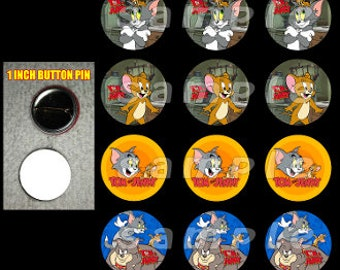 Tom and Jerry set of 12 1 inch button birthday party favors
