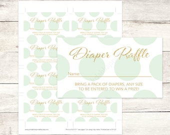 mint and gold diaper raffle tickets printable baby shower DIY mint and gold baby digital shower games - INSTANT DOWNLOAD