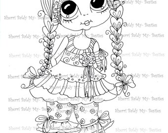 INSTANT DOWNLOAD Digital Digi Stamps Big Eye Big Head Dolls Digi  My Besties IMG019 By Sherri Baldy