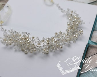 Pearls and Crystals Bridal Wreath, bohemian headband, silver wedding hair vine