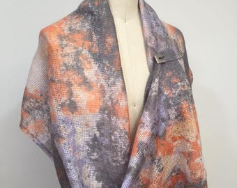 SALE was 74.00 now 65.00 Pastel Colors Mohair Wool Infinity Scarf, Mohair Shawl, Multicolor Wrap, Stole, Cowl, Loop Scarf
