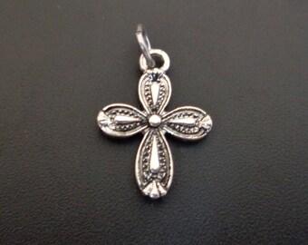 Flower Petal Silver Cross Charm - Low Shipping