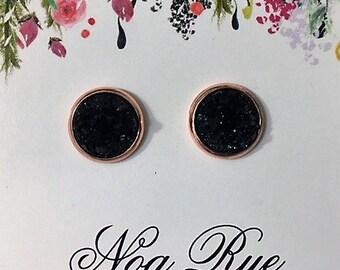 Black Druzy Stone 10mm Stud Earrings