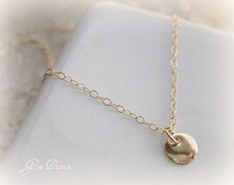 14K Gold Filled Tiny Disc Necklace Custom Handmade Tiny Dot Pendant Gold Charm Everyday Necklace Layering Necklace Delicate 27 Dresses