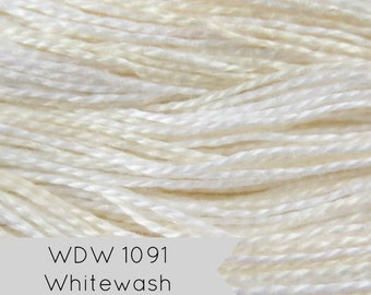White Pearl Cotton Floss Weeks Dye Works Hand Over-Dyed Perle Cotton - Size 8 Whitewash