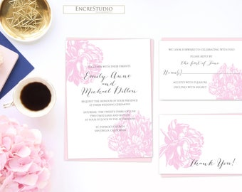 Printable Wedding Invitation - Peony Wedding Invitation, Botanical Wedding Invitations, Wedding Invite Template, Wedding Invitation Suite