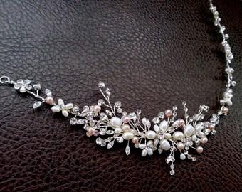 Crystal Hair Vine with Pearls, Pink and Blush Pearl Vine, Wedding Headpiece, Bridal Headband, Floral Vine