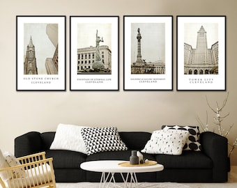 Cleveland cityscape views set of 4,Fine art photography, Home and Office Decor