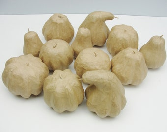 Paper mache gourds set of 12
