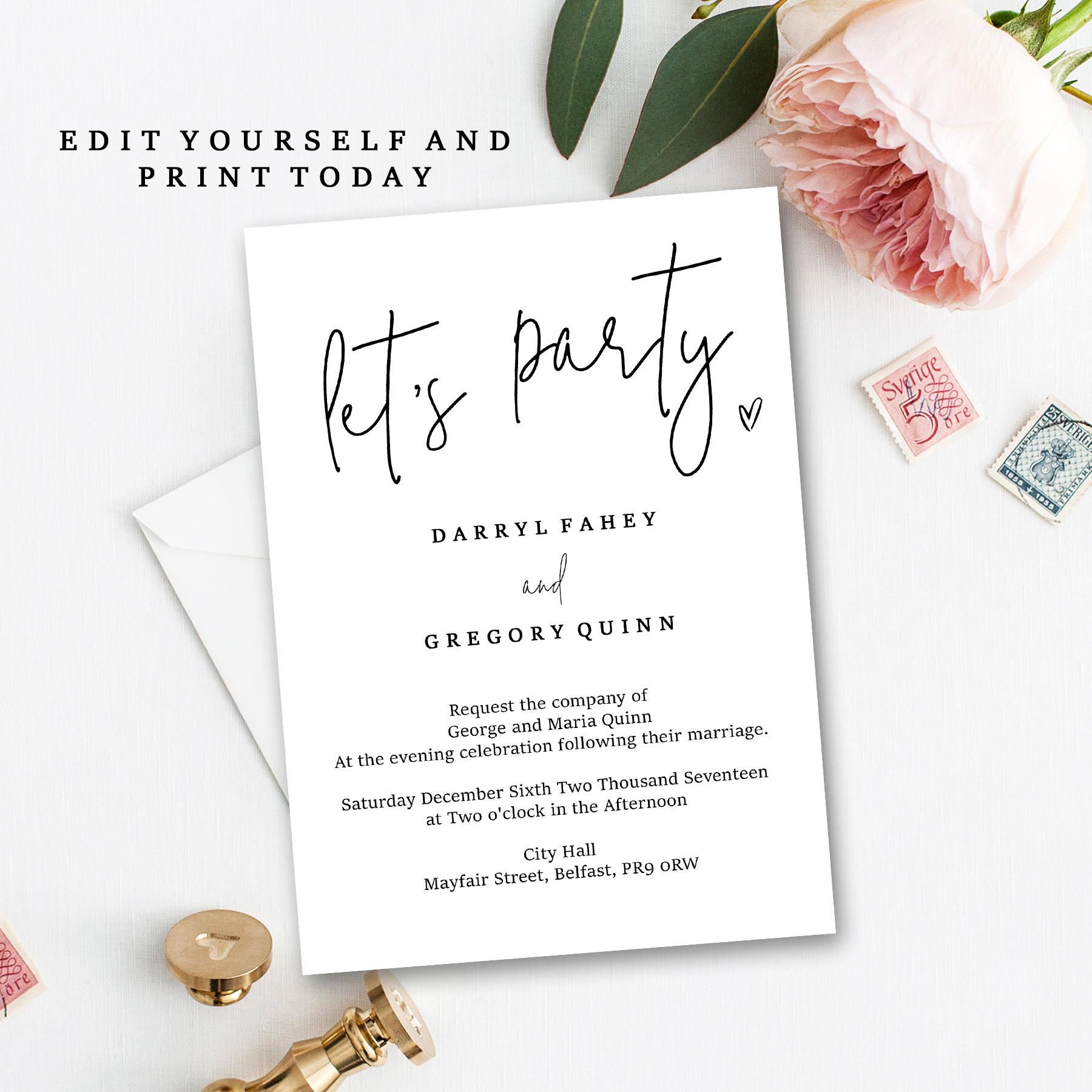 Evening reception invite printable instant download edit zoom solutioingenieria Gallery