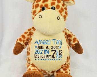 Personalized giraffe etsy personalized stuffed animal personalized giraffe birth announcement embroidered stuffed animal personalized keepsake negle Gallery