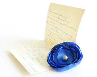 Royal Blue Flower - Clip or Headband - Free Shipping in US