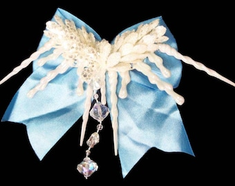 Hair Bow Clip Frozen Winter Christmas Holiday Victorian Steampunk Snow Icicles