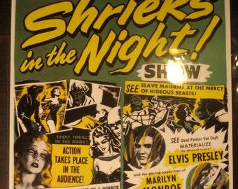 Marilyn Monroe Elvis Presley Spook Show Event Poster Horror Magic Act Trick Magician Print / Art / Illustration/ Window Card Reproduction