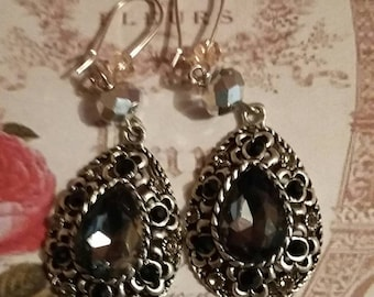 Earrings - cabochon, glass beads, Swarovski rhinestones, chic and couture 80's