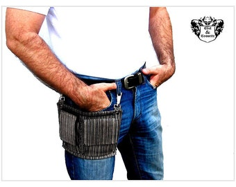 stripe leather thigh bag