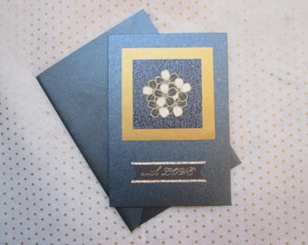 Shimmery Navy Blue 'With Love' Greetings Card with Bronze and Black Flowers, Handmade