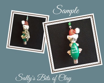 Bengal Santa Cat Christmas Holidays Light Bulb Ornament Sally's Bits of Clay PERSONALIZED FREE with cat's name