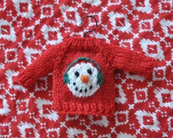 Snowman Head with Earmuffs Hand-Knit Sweater Ornament