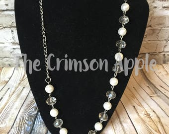 Smokey Crystal and pearl layering necklace