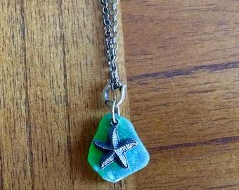 Genuine green French sea glass starfish necklace